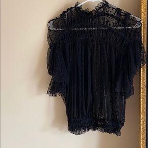 Free People black short sleeve lace blouse SIZE:XS